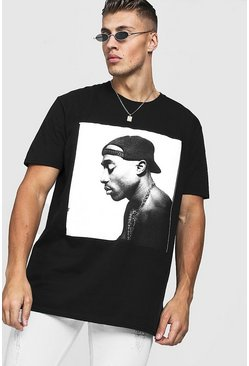 Mens Black Tupac Oversized License T-Shirt