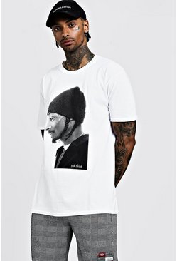 Mens White Snoop Dog Oversized License T-Shirt