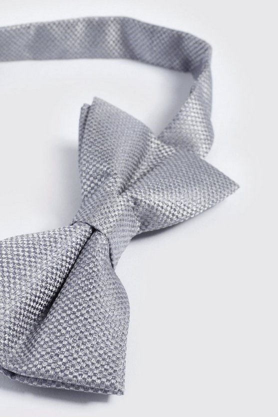 Mens Pale grey Textured Bow Tie