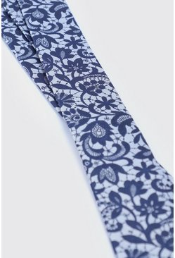 Mens Navy Lace Overlay Print Tie