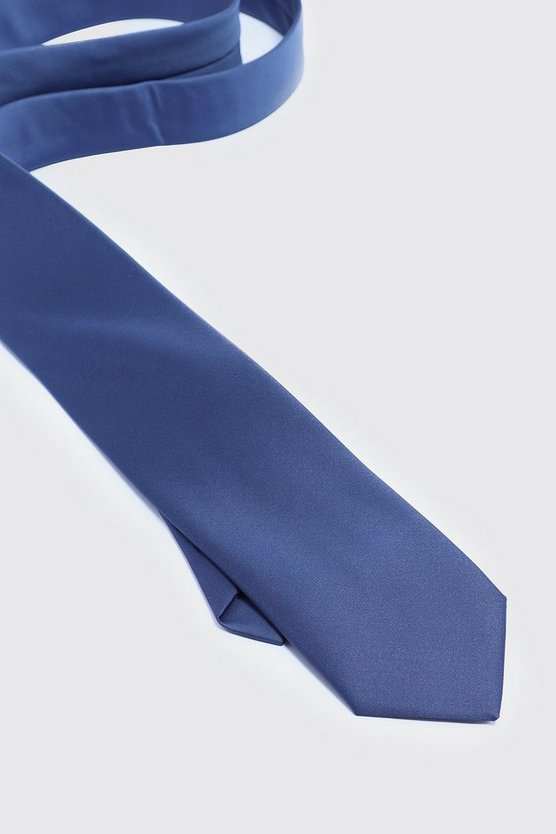 Mens Navy Silk Look Tie