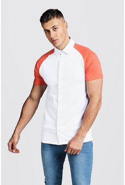 Mens Coral Short Sleeve Jersey Shirt With Contrast Raglan