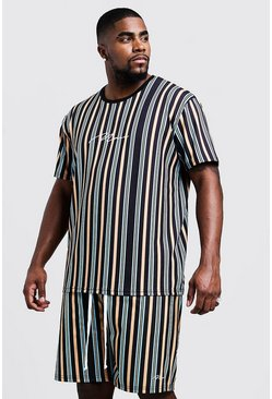 Mens Mustard Big & Tall MAN Stripe T-Shirt & Short Set