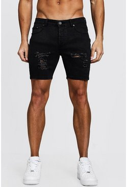 Mens Charcoal Skinny Fit Denim Shorts With Distressing