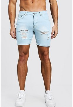 Mens Light blue Skinny Fit Denim Shorts With Distressing