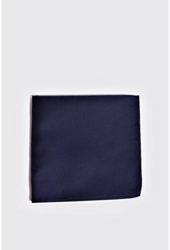 Mens Navy Silk Look Pocket Square