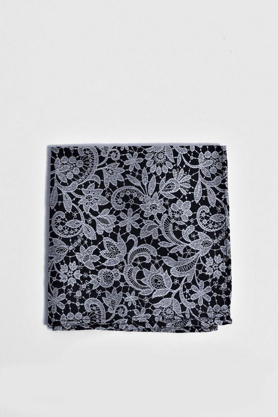Mens Navy Lace Overlay Print Pocket Square