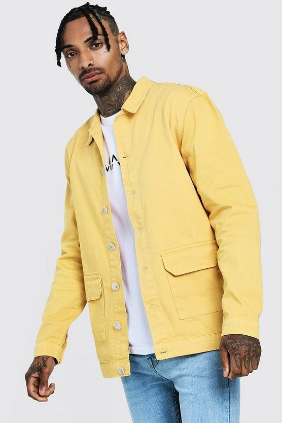 Mens Gold Cotton Twill Shacket With Double Pockets