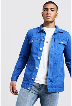 Mens Cobalt Cotton Twill 4 Pocket Shacket