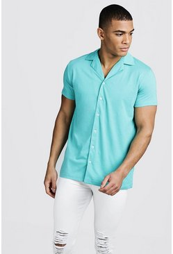 Mens Turquoise Short Sleeve Jersey Shirt With Revere Collar