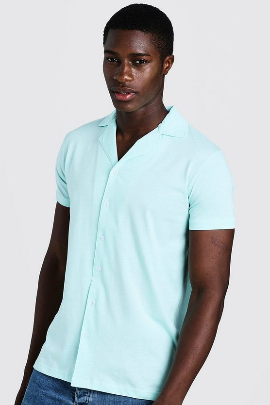 Mens Aqua Short Sleeve Jersey Shirt With Revere Collar