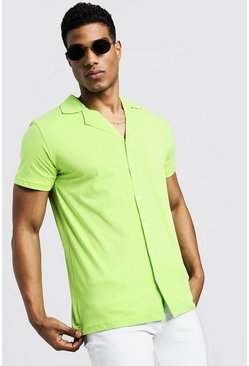 Mens Lime Short Sleeve Jersey Shirt With Revere Collar