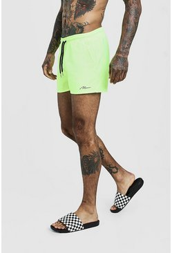 MAN Signature Short de bain mi-long, Jaune néon, Homme