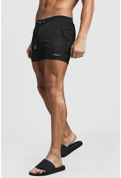 MAN Signature Short de bain mi-long, Noir