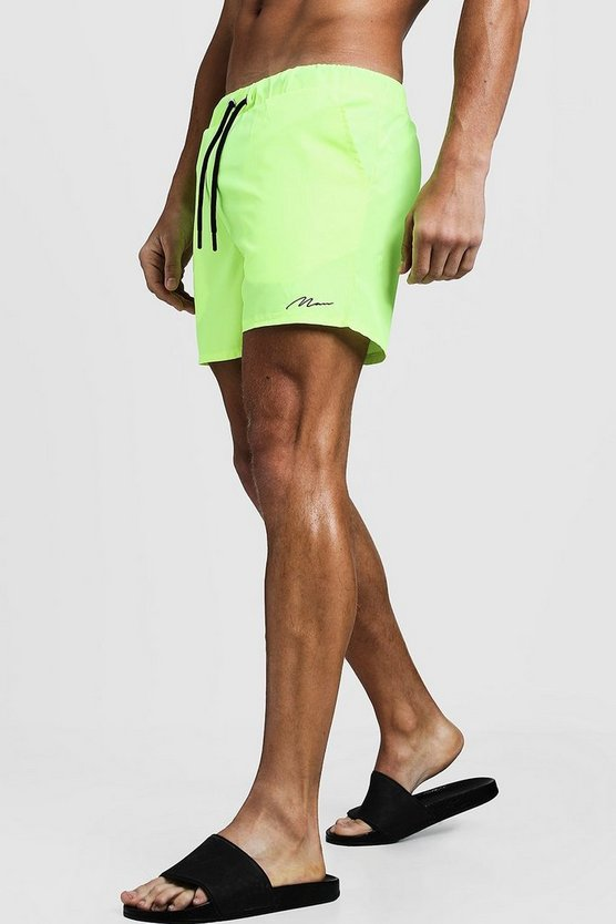 Mens Neon-yellow MAN Signature Mid Length Swim Short