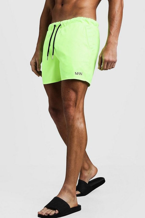 Short de bain mi-long MAN original, Vert néon, Homme