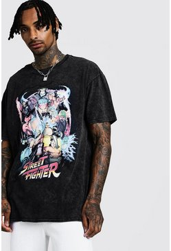 Mens Black Oversized Washed Street Fighter T-Shirt