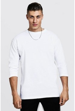 Mens White 3/4 Sleeve Regular Fit T-Shirt
