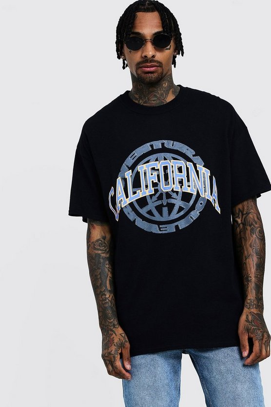 Mens Black Oversized T-Shirt With California Print