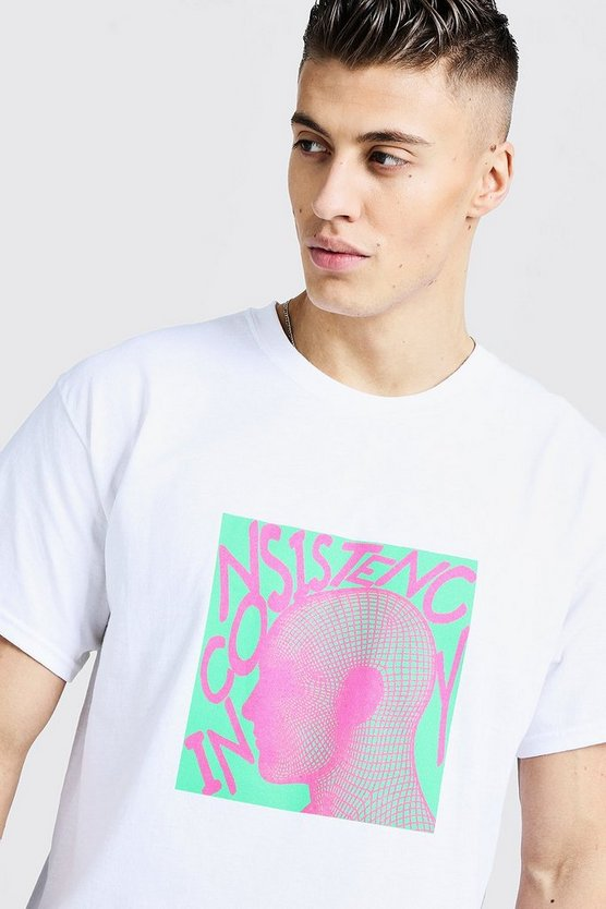 Mens White Loose Fit T-Shirt With Bright Graphic