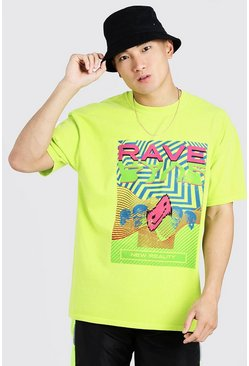 Mens Neon-green Loose Fit T-Shirt With Rave Graphic