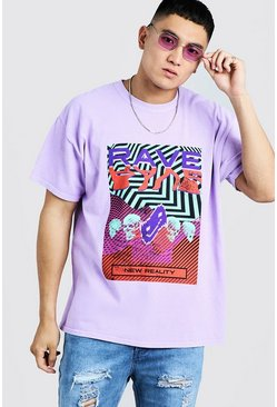 Mens Orchid Loose Fit T-Shirt With Rave Graphic
