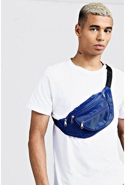 Blue Nylon Front Pocket Bumbag