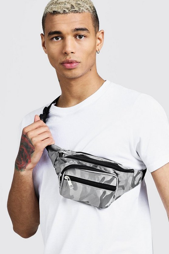 Mens Grey Camo Nylon Bumbag