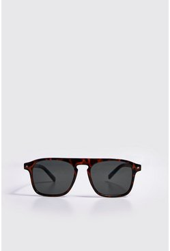 Mens Brown Rivet Detail Classic Sunglasses