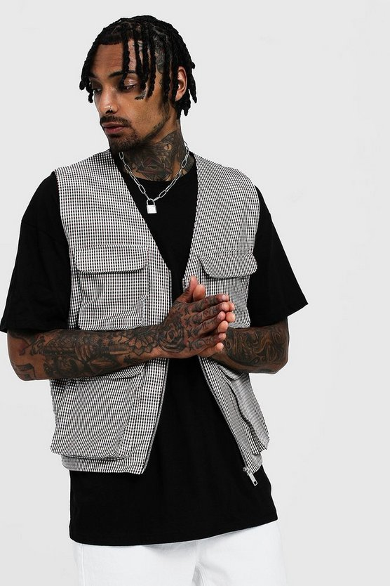 Mens Brown Gingham Check Utility Vest