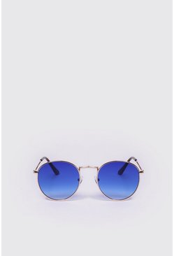 Blue Mirror Lens Round Sunglasses