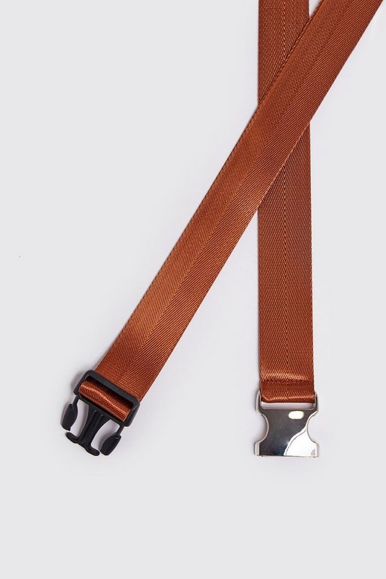 Mens Tan Silver Buckle Tape Belt