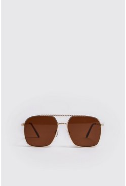 Mens Brown Vintage Frame Aviator