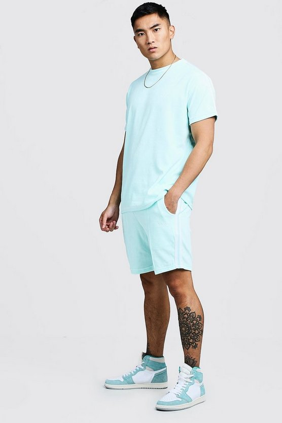 Ensemble t-shirt & short MAN en velours avec bande, Aqua, Homme