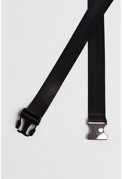Mens Black Silver Buckle Tape Belt