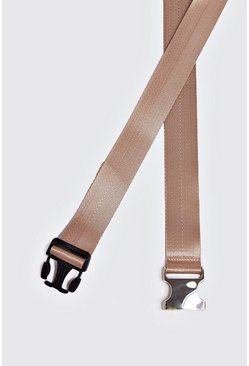 Mens Nude Silver Buckle Tape Belt