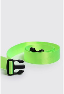 Mens Neon-yellow Plastic Buckle Release Belt