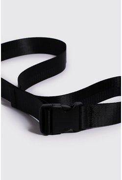 Mens Black Plastic Buckle Release Belt