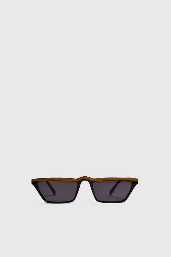 Mens Mustard Colour Stripe Micro Sunglasses