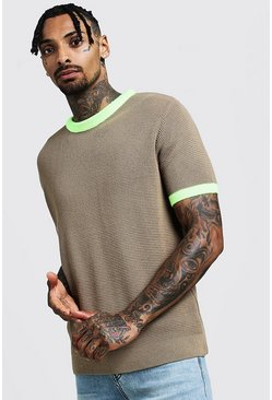 Mens Taupe Knitted T-Shirt With Neon Rib