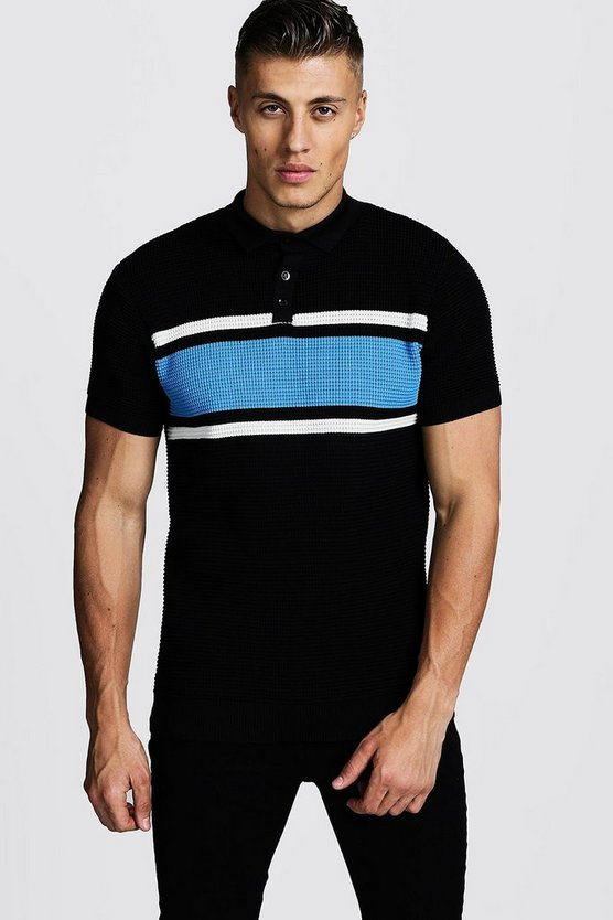 Mens Black Knitted Polo With Colour Block