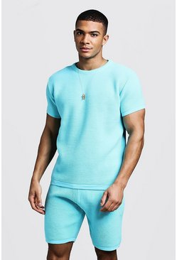 Mens Aqua Ottoman Rib Knitted T-Shirt & Short Set