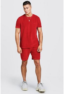 Mens Red MAN Signature Velour T-Shirt & Short Set With Zips