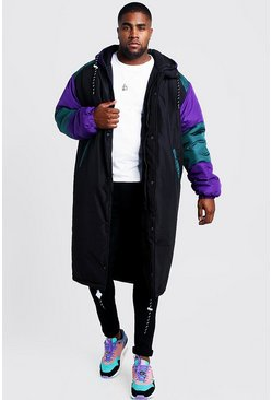 Mens Black Big And Tall Colour Block Back Print Puffer