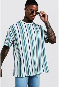 Mens Green Oversized T-Shirt In Vertical Stripe