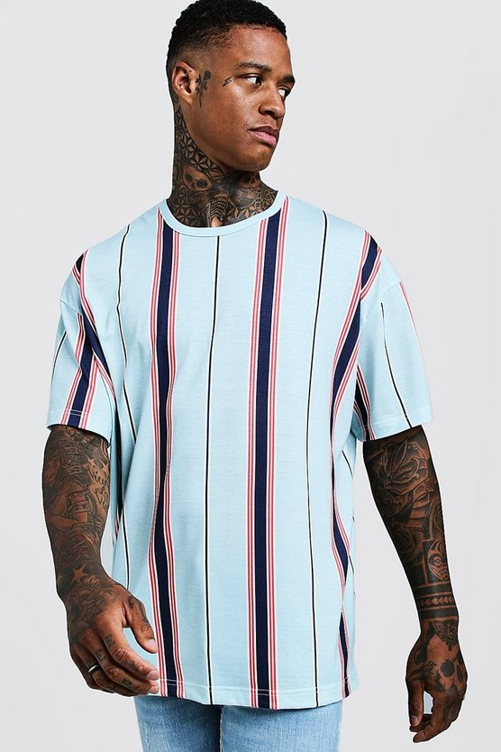 Pale blue Oversized T-Shirt In Vertical Stripe