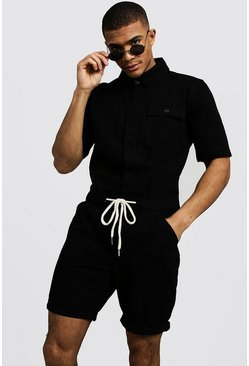 Mens Black Short Length Denim Jumpsuit