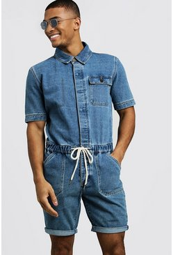 Mens Mid blue Short Length Denim Jumpsuit