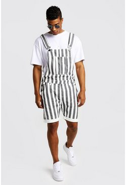Mens White Slim Fit Short Overalls With Printed Stripe