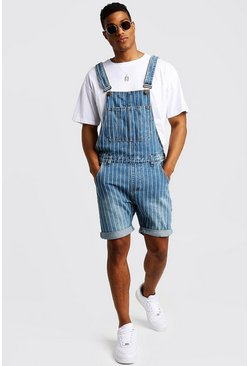 Mens Blue Slim Fit Short Dungarees With Printed Stripe